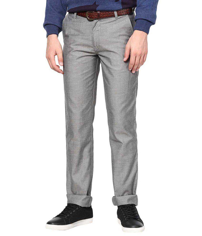 Richlook Gray Formal Regular Fit Chinos