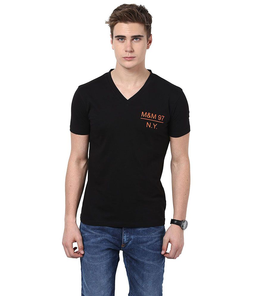 Monteil & Munero Black Basic Half Sleeves T Shirt