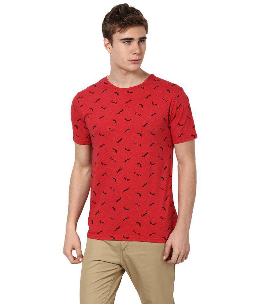 Monteil & Munero Red Printed Half Sleeves T Shirt