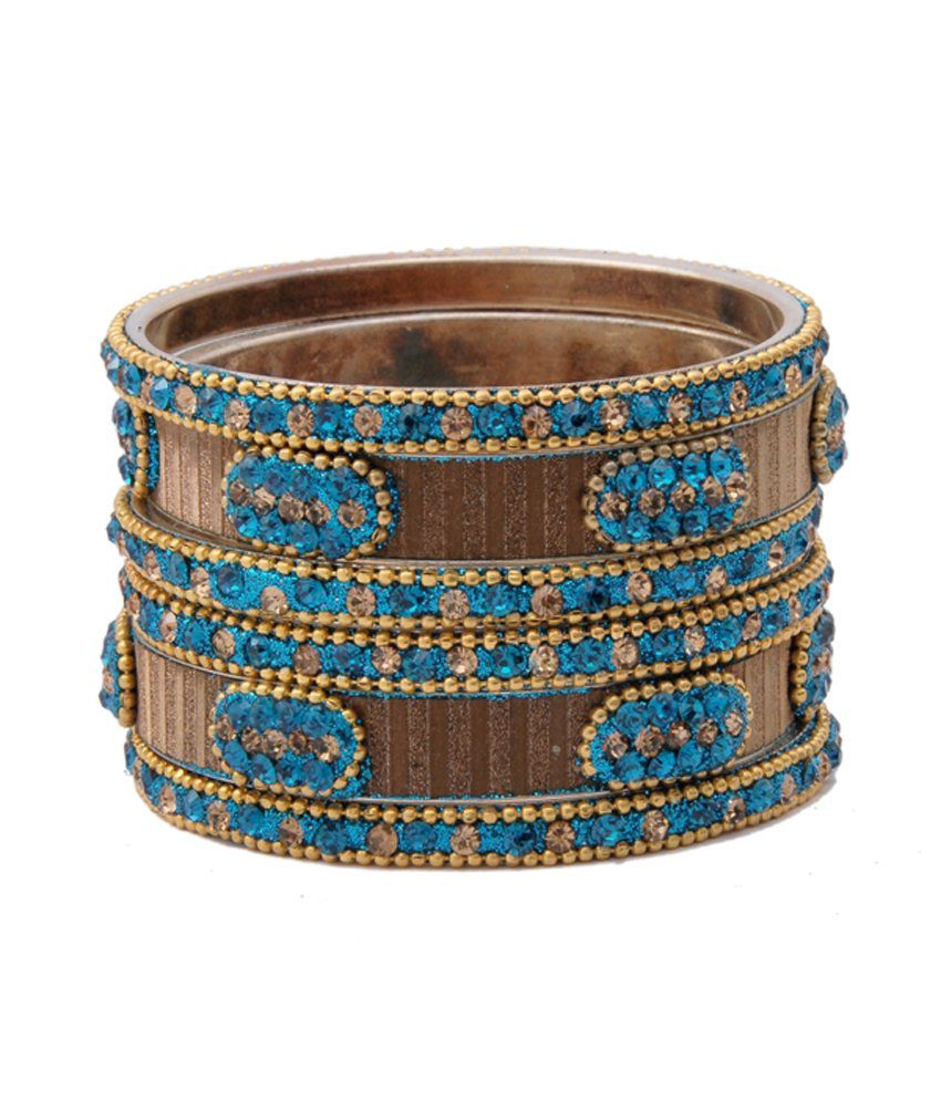 The Fine World Style Diva Blue Brass Coloured Bead Bangle Set