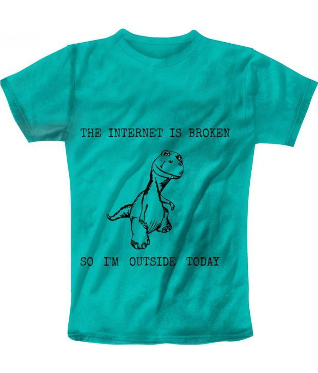 Freecultur Express Turquoise Cotton Blend T-shirt