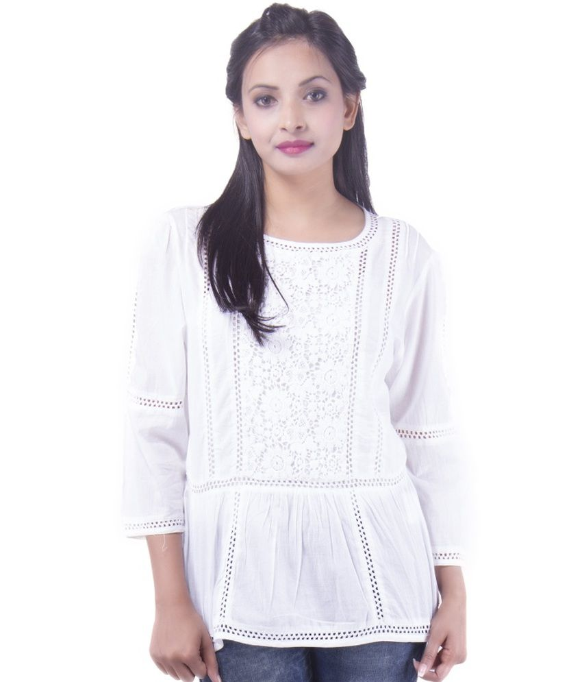 be31981fe5439a Goodwill Impex White Cotton Tops - Buy Goodwill Impex White Cotton Tops  Online at Best Prices in India on Snapdeal