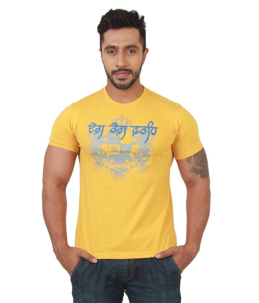 Punjabi Heritage Yellow Cotton Round Neck Half Sleeved Shirt