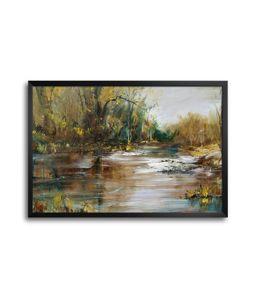 Shopmantra oil paint landscape laminated framed poster for Best place to buy posters in store