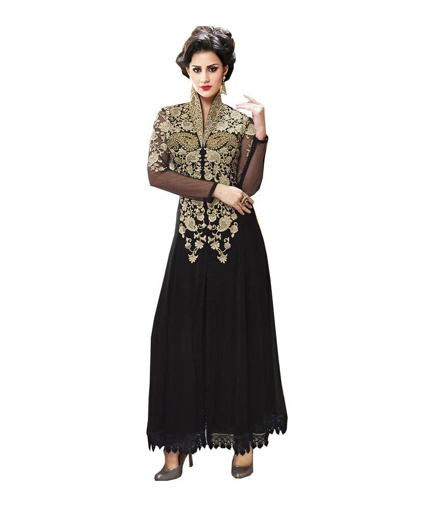 Sukanya Super Shoppe Black Georgette Unstitched Dress Material