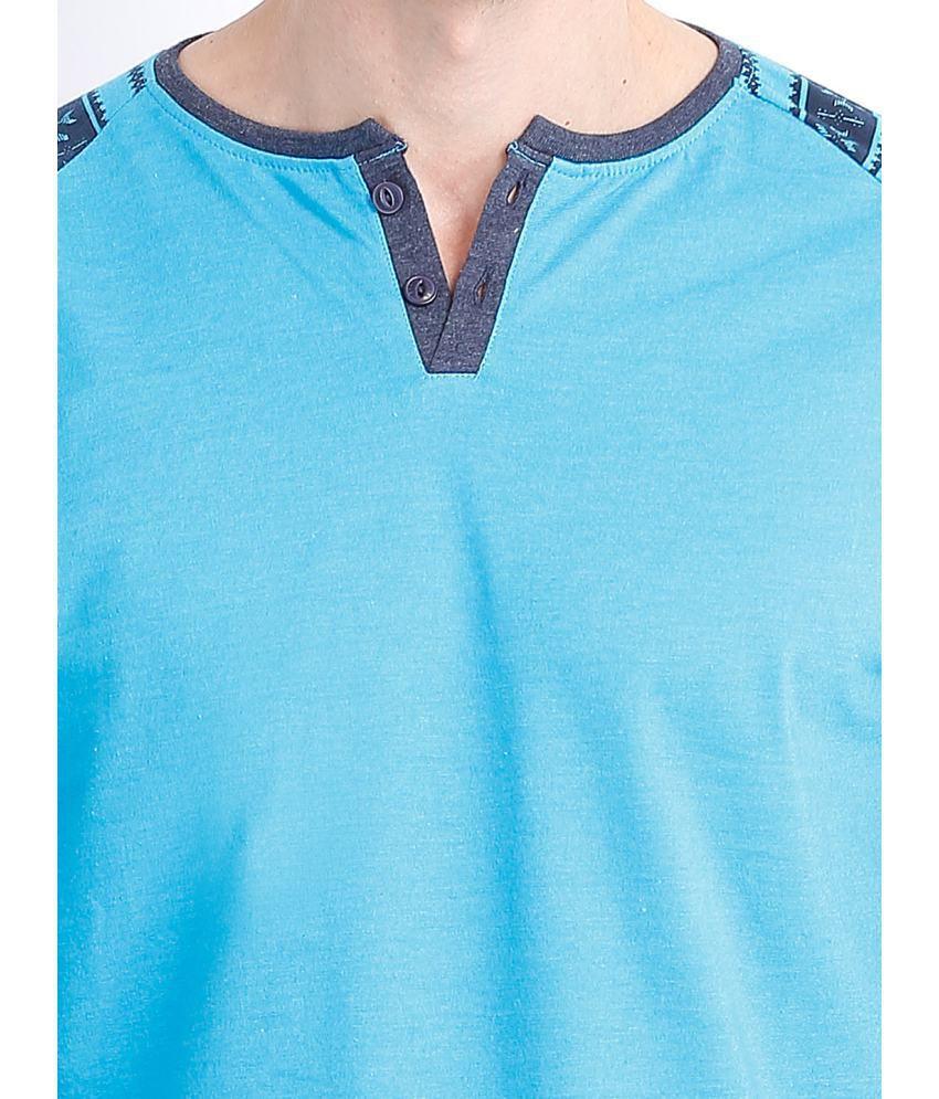 Locomotive Blue Cotton Blend Henley T Shirts