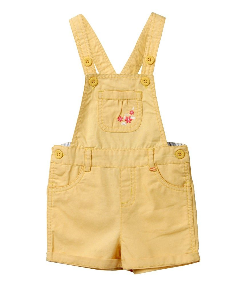 Floral Emb. Pocket Dungaree Yellow
