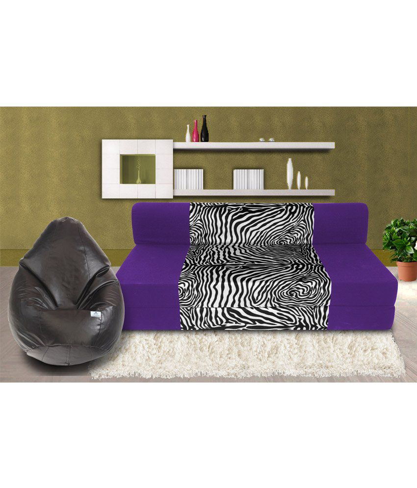 ea5d7b12a02 Zeal 3 Seater Sofa Cum Bed in Purple with Free Bean Bag Cover- XXL - Buy  Zeal 3 Seater Sofa Cum Bed in Purple with Free Bean Bag Cover- XXL Online  at ...
