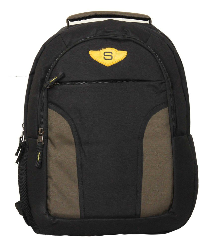 Sami Black & Grey Polyester Laptop Backpack