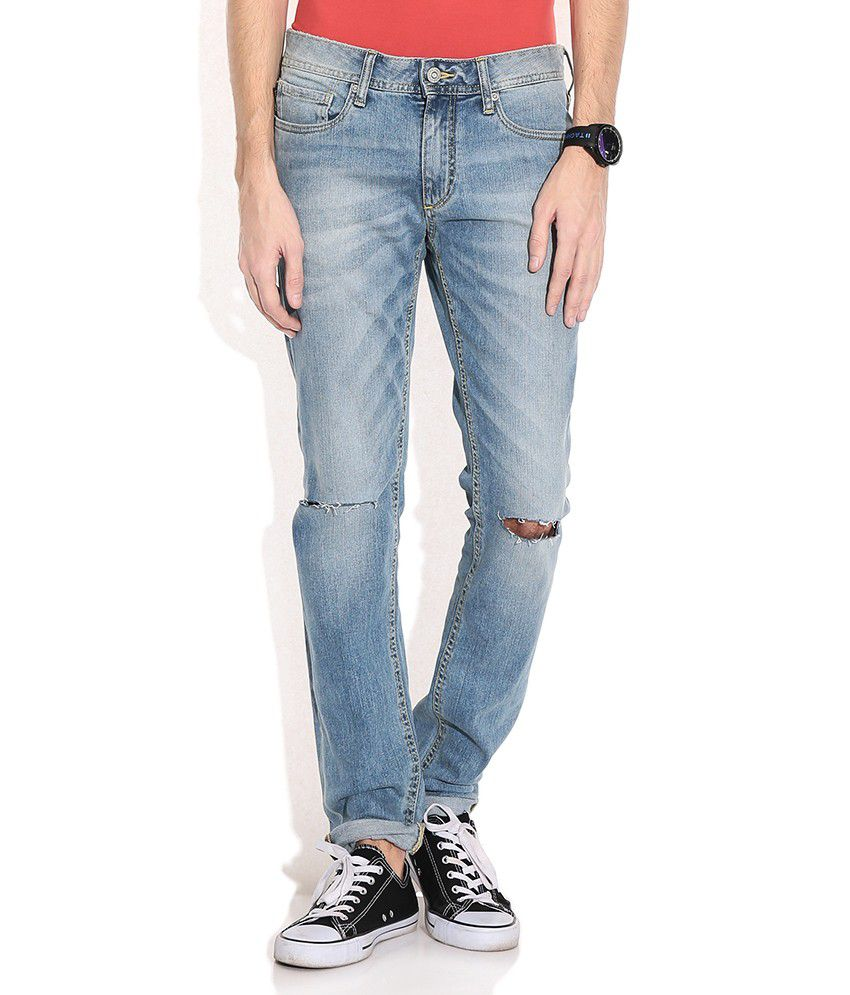 Jack & Jones Blue Cotton Slim Faded Jeans