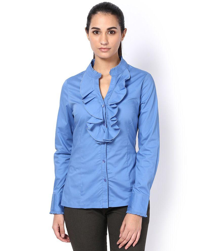KAARYAH Powder Blue Ruffled Formal Shirt