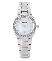 Fossil Women's AM4141 Stainless Steel Bracelet Mother-Of-Pearl Glitz Analog Dial Watch