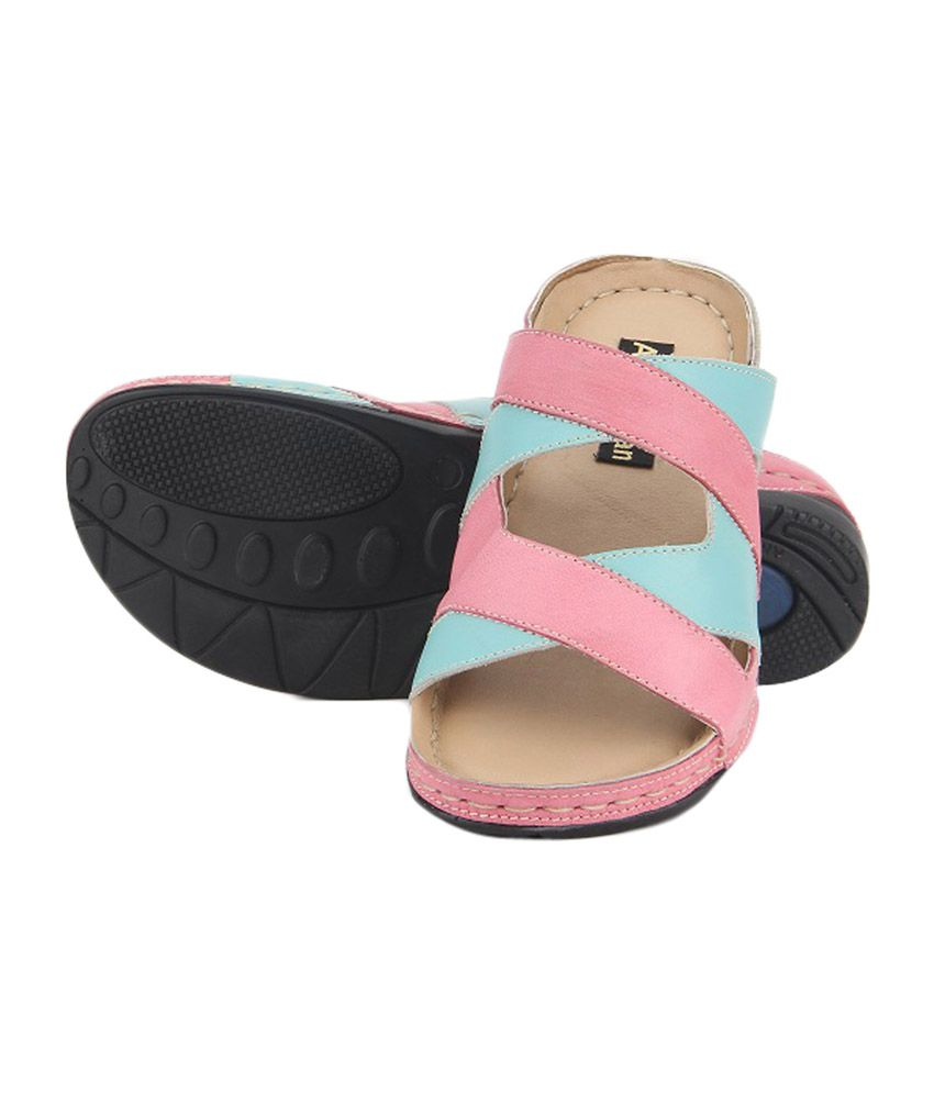 Aditi Wasan Genuine Leather Pink & Blue Comfort Slippers