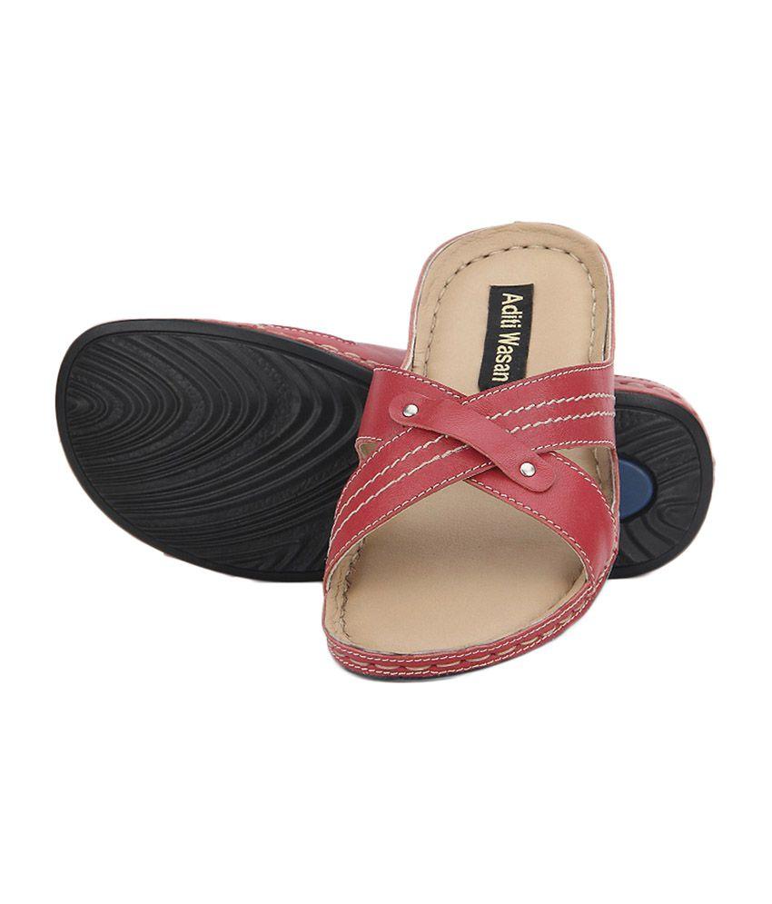 Aditi Wasan Red Slippers