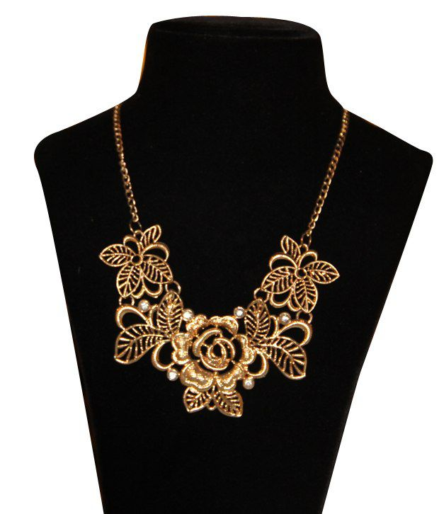 Fashion Berg Accessories Gorgeous Necklace Golden Flowers