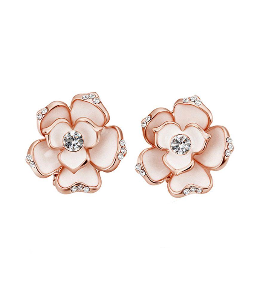 Indu Jewels Rose Gold Plated Crystal Rhinestone Baked Paint Earrings