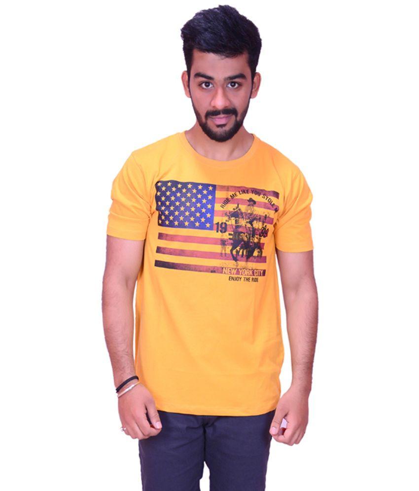 Orange Cotton Round Neck T-Shirt