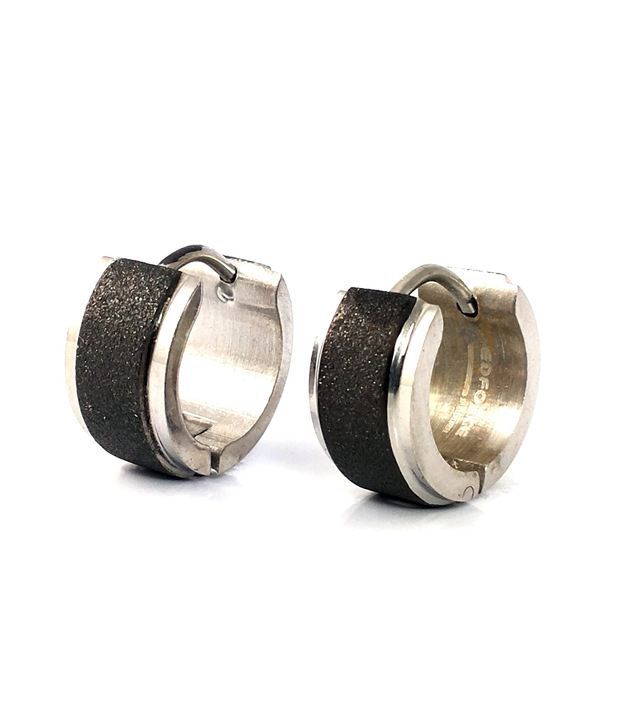 Ammvi Creations Rhodium Plated Glittering Black Pearl Sand 316L  Hoop Earrings For Men