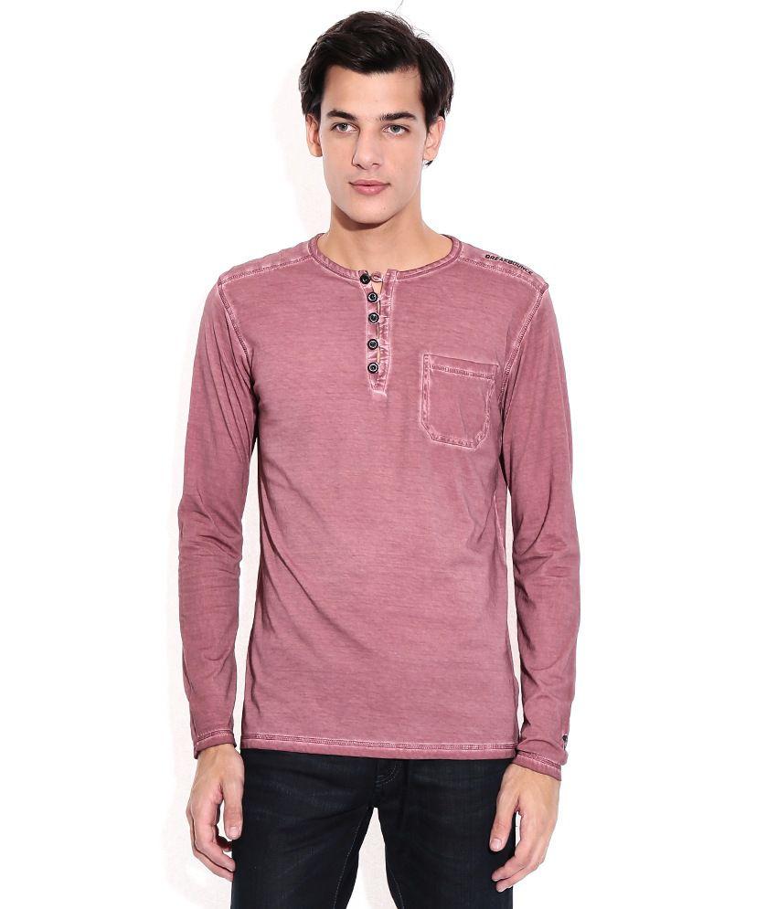 Breakbounce Purple Henley T-shirt