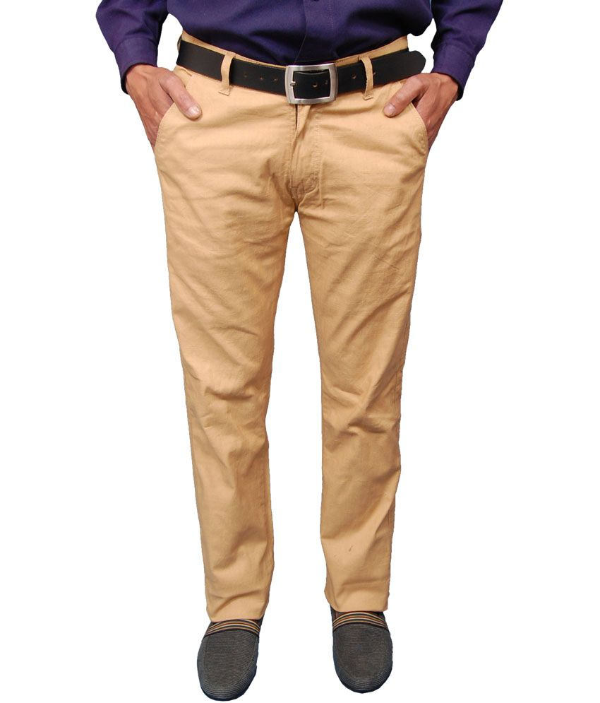 Fashion N Style Khaki Cotton Blend Casual Trouser For Men