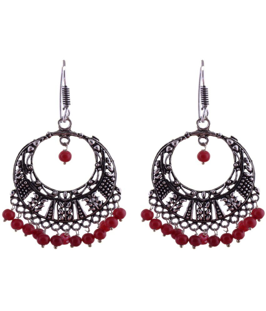Ganapathy Gems Oxodised Metal Bali With Red Drops