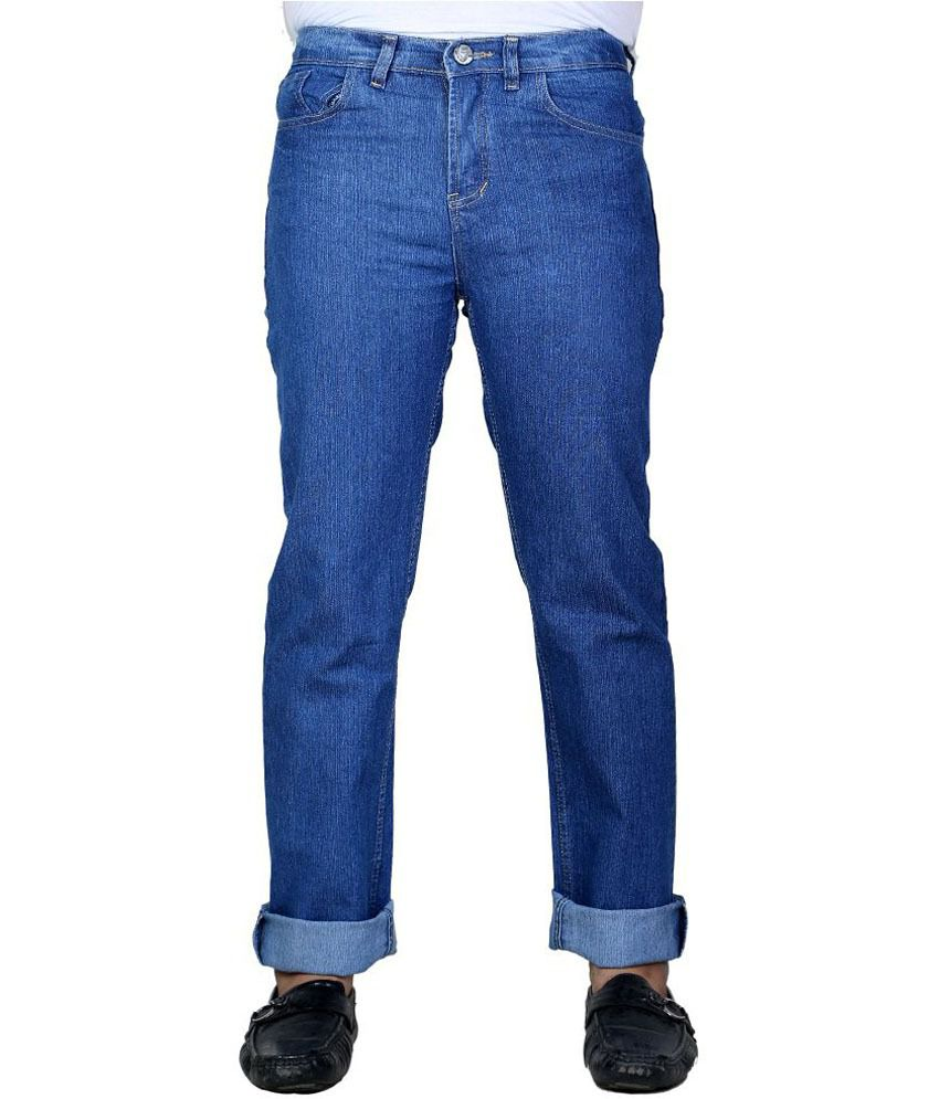 Mj Jeans Blue Cotton Regular Denim Jeans