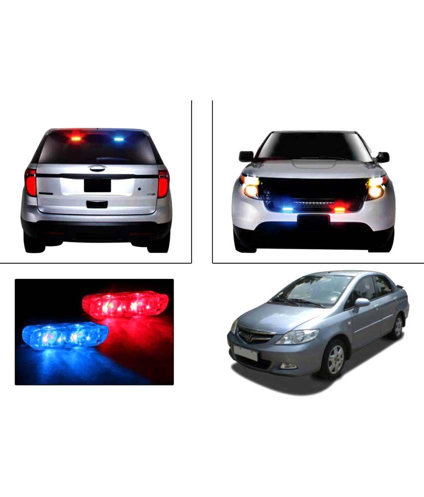 Speedwav Car Sleek Twin Led Police Flasher Lights-honda