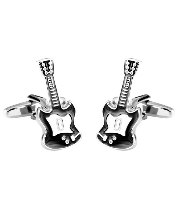 Tossido Captivating Silver & Black Party Wear Cufflinks