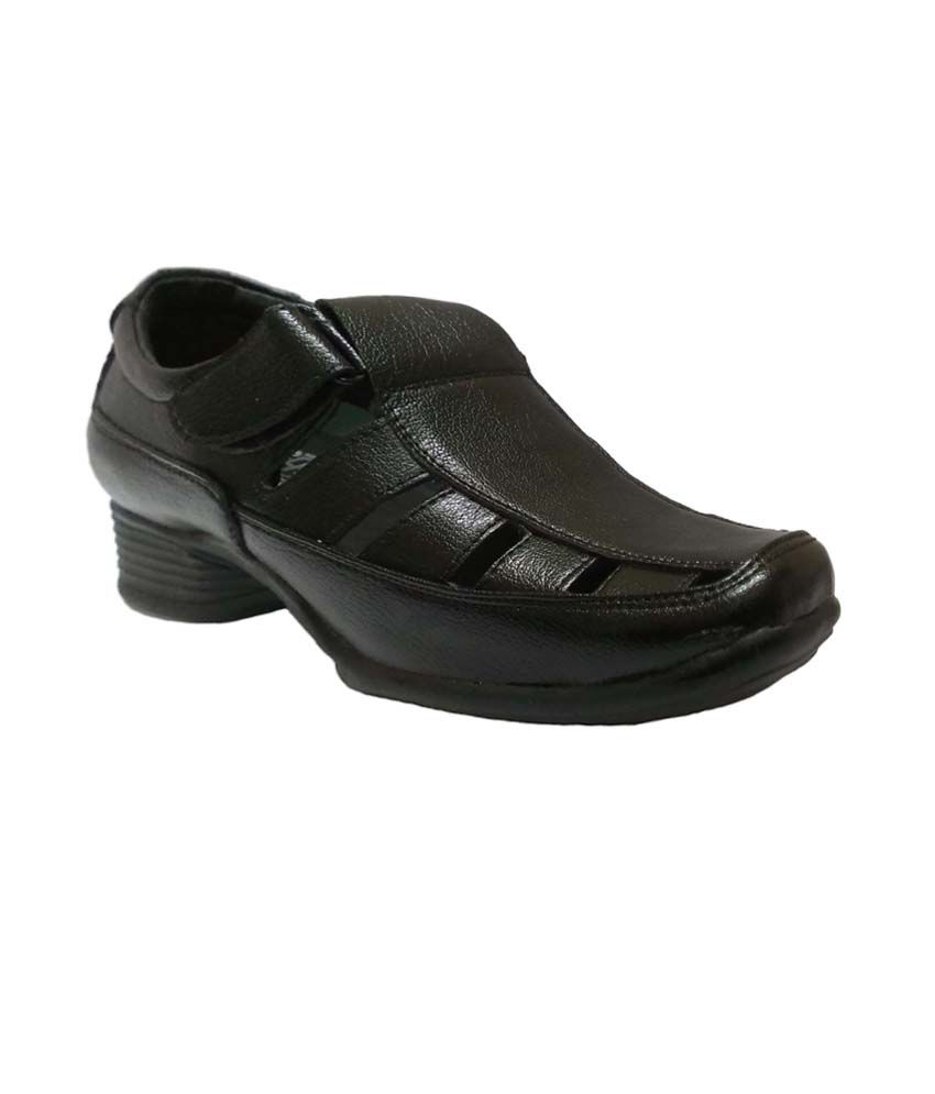 Bata Black Leather Stylish Sandals For Men Price In India