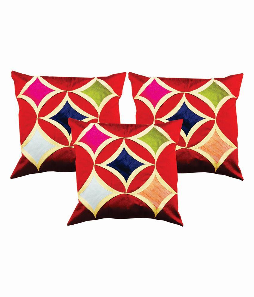 Dream Care Multicolour Silk Geometrical Designer Cushion Cover - Set of 3Pcs