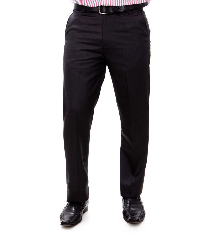 Syntel Internatonal Black Cotton Slim Fit Formal