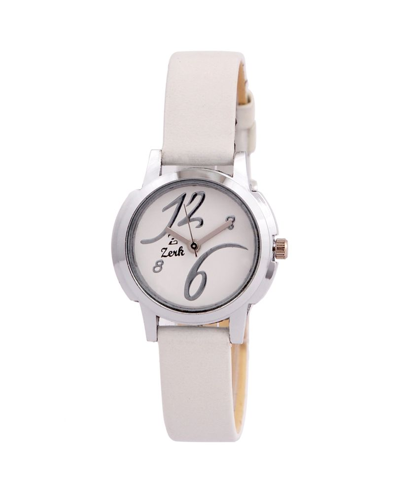Zerk White Leather Round Analog Women Watch