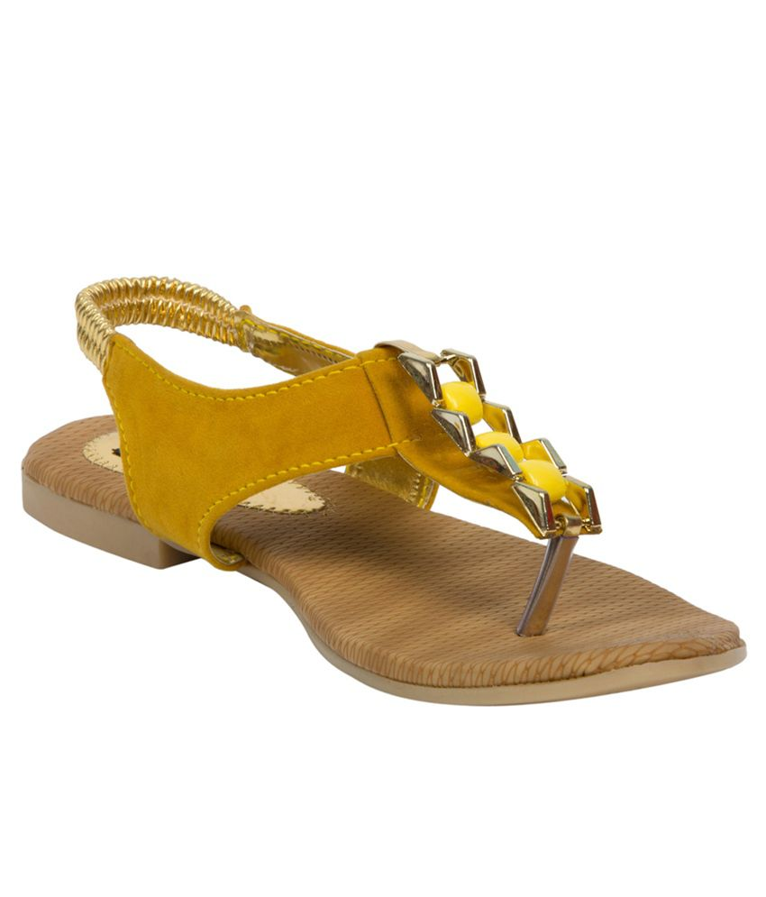 Adelee Yellow Studded Sandals
