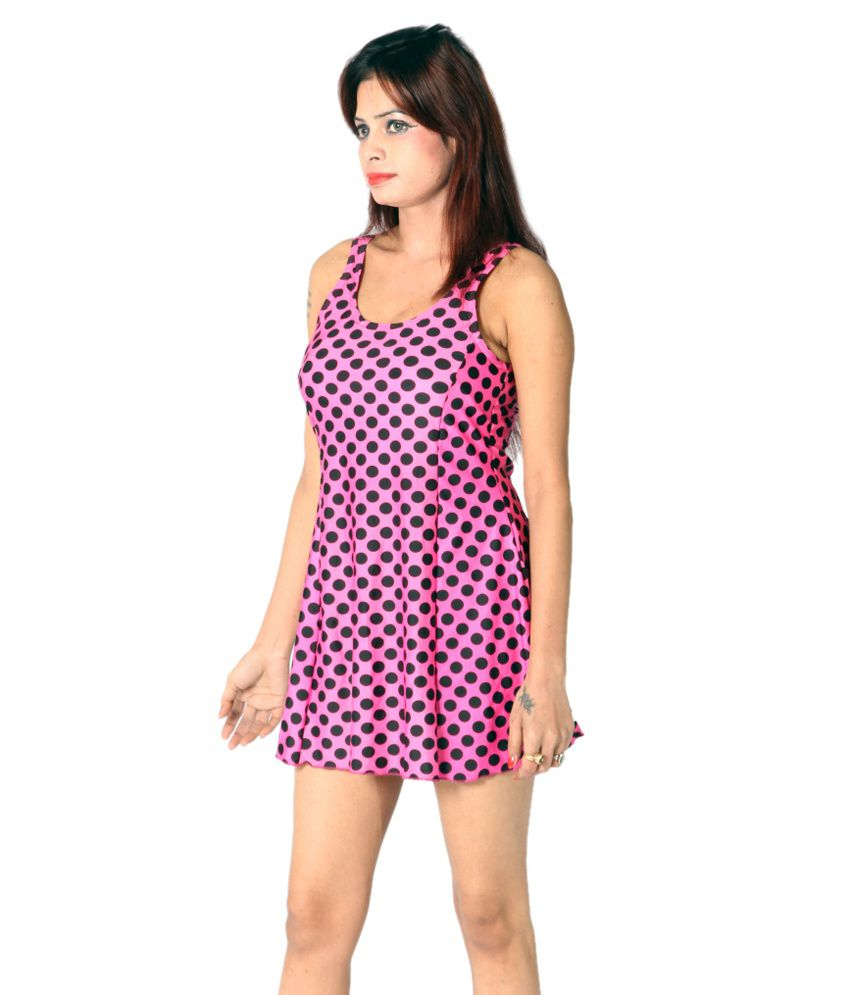 Indraprastha Pink Polka Dotted Swimsuit/ Swimming Costume