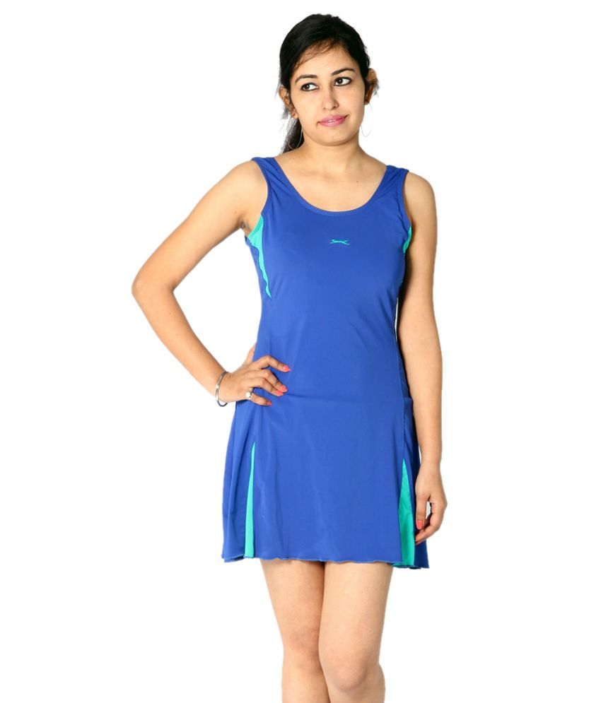 Indraprastha Royal Blue Swimsuit with Green Detailing/ Swimming Costume