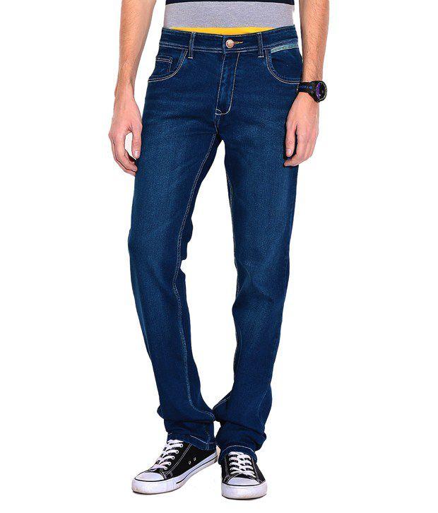 SEVEN14 Blue Cotton Blend Slim fit JEANS