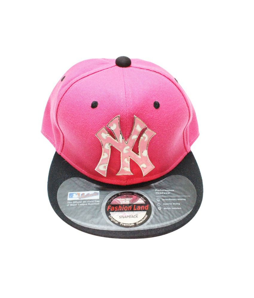 TakeInCart Pink and Black NY 3D Snapback Caps
