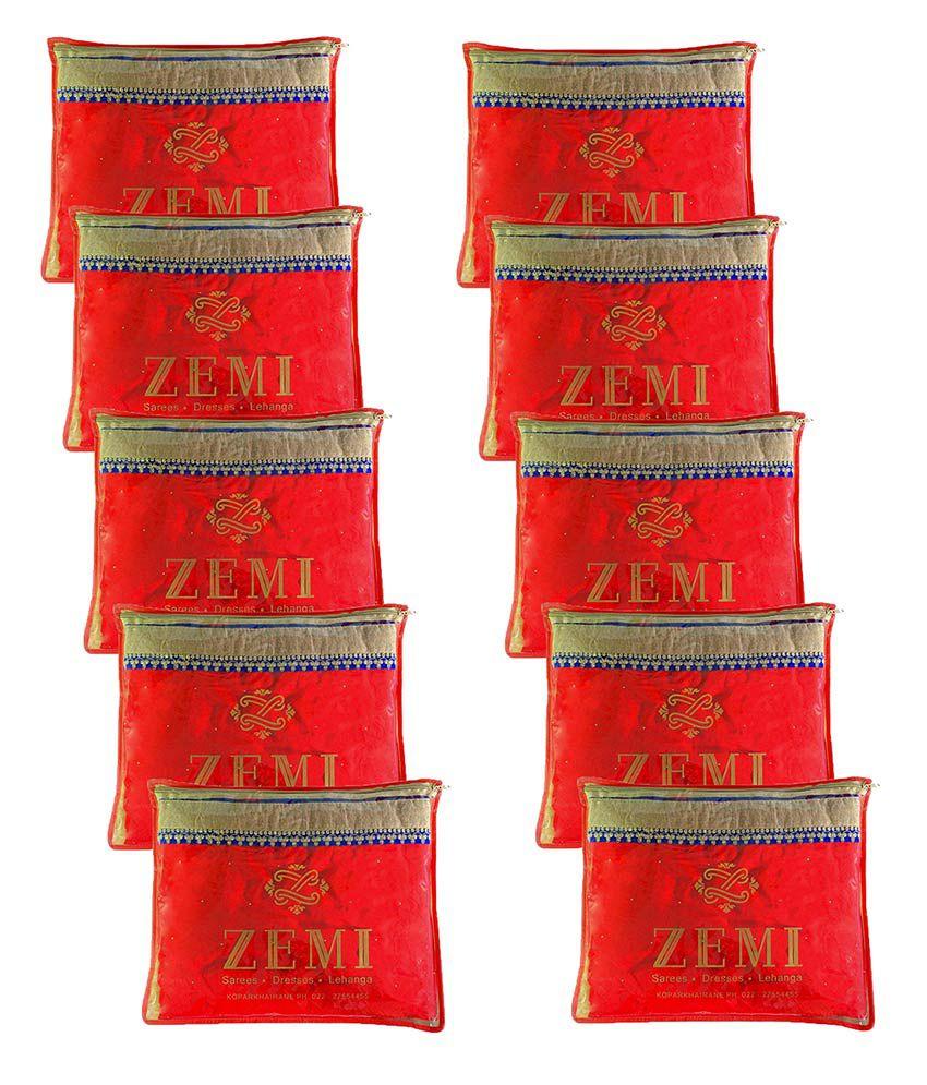 Zemi Dura-Zip Medium Saree Cover - Pack of 10