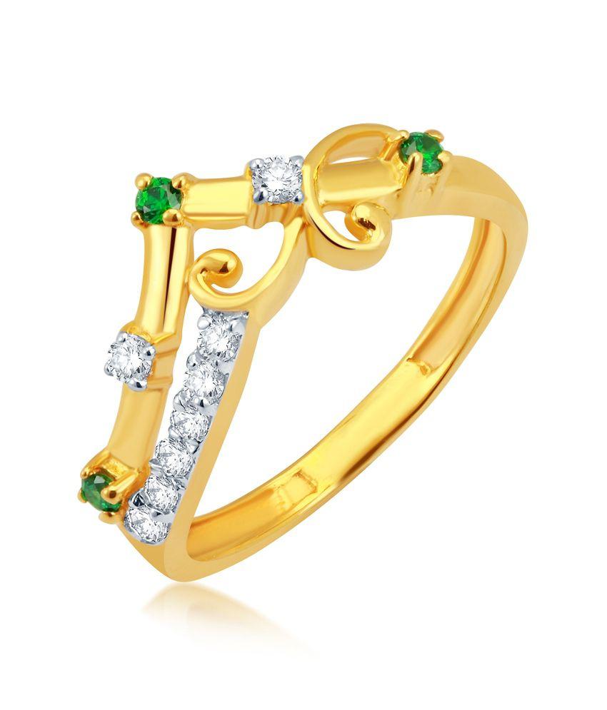 Pankaj Jewellers Swarovski Zirconia 18k Gold Ring