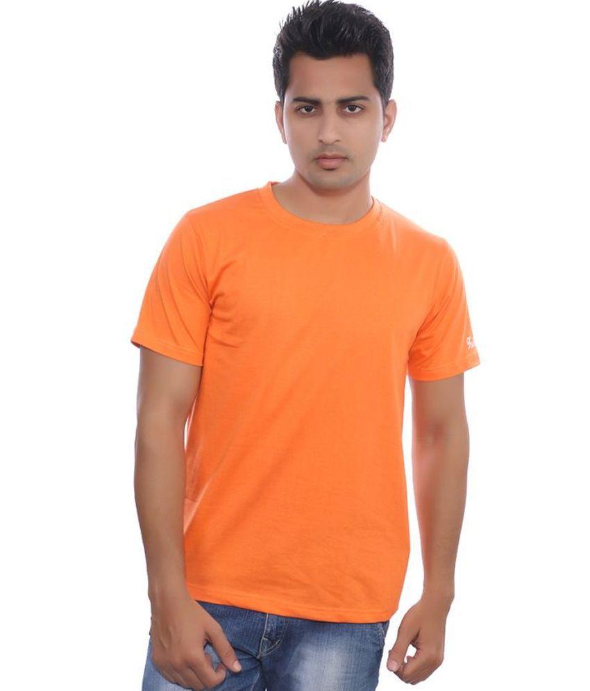 Fabilano Orange Cotton Basics Round Neck Half T Shirt
