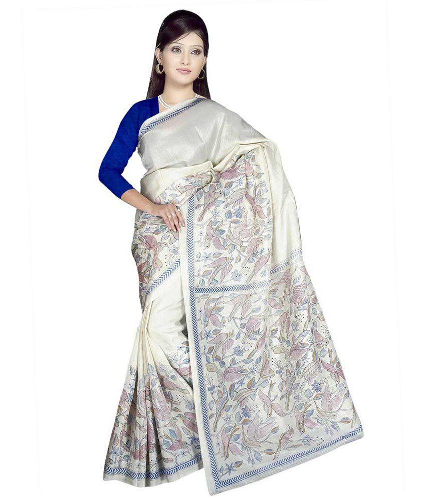 Shyam Fabrics Blue Bhagalpuri Silk Saree