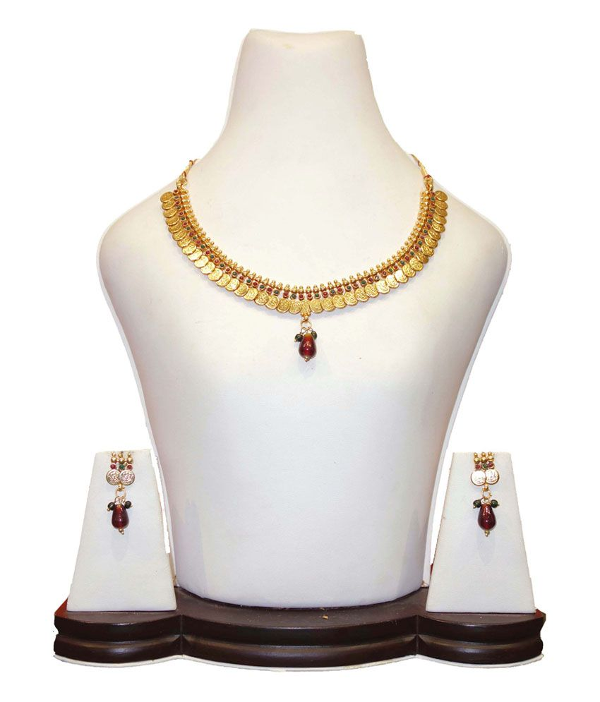 Anjan Golden Coloured Bead Antique Traditional Necklace Set