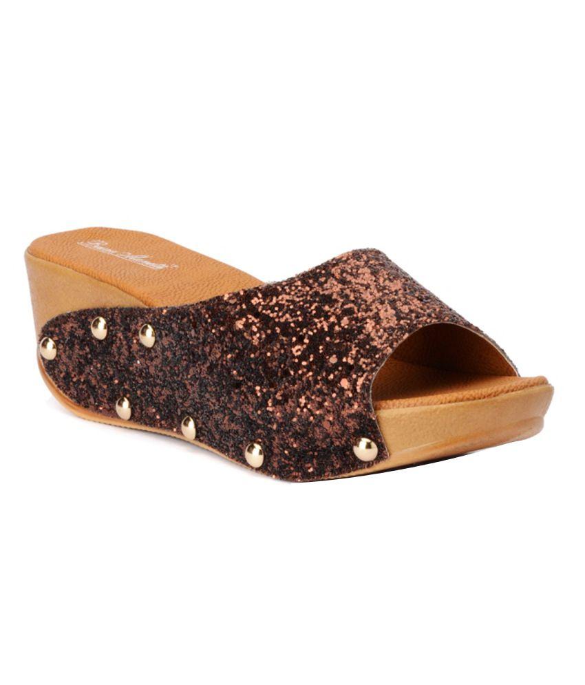 Bruno Maneti Fashionable Copper Coloured Heeled Slip Ons