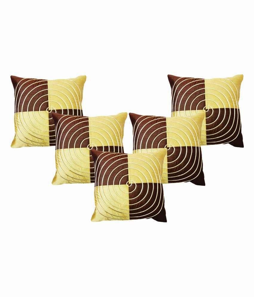 Dream Care Multi-colour Designer Silk Cushion Covers - Set Of 5