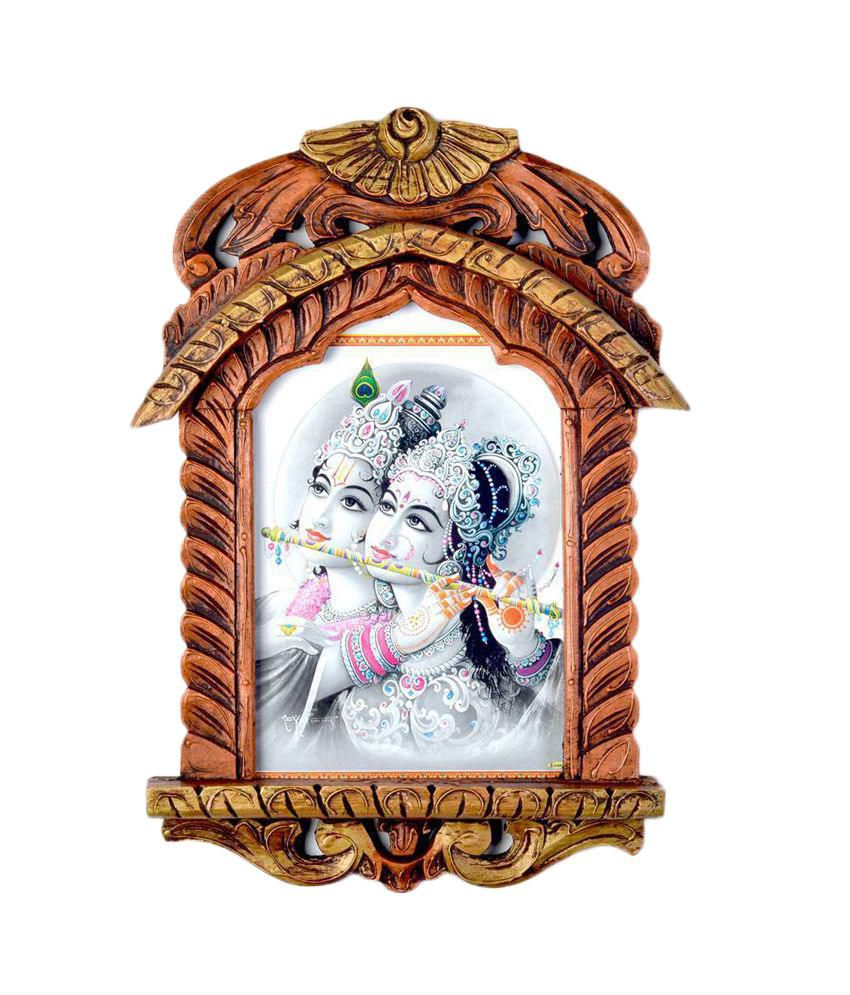 Jaipur Handicraft Lord Radha Krishna Playing Flute Jharokha Painting