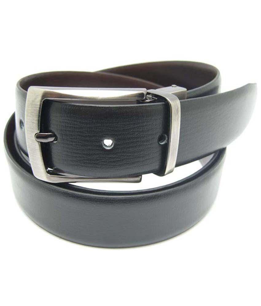 Lustre International Black And Brown Genuine Leather Reversible Belt For Men