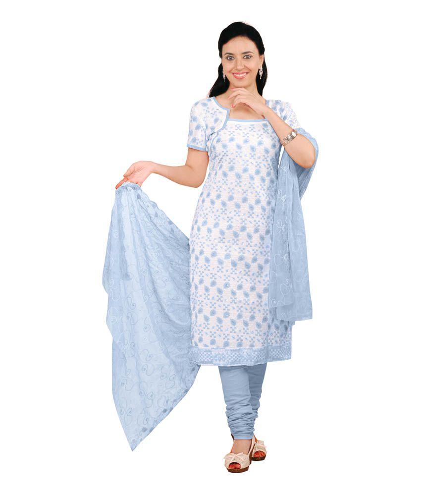 S.V.G. Blue Cotton Unstitched Dress Material