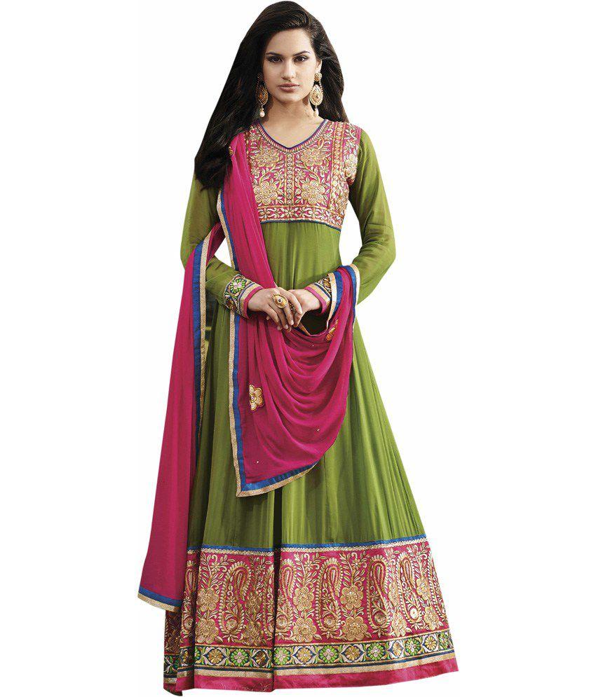 The Fashion World Green Faux Georgette Anarkali Salwar Suit