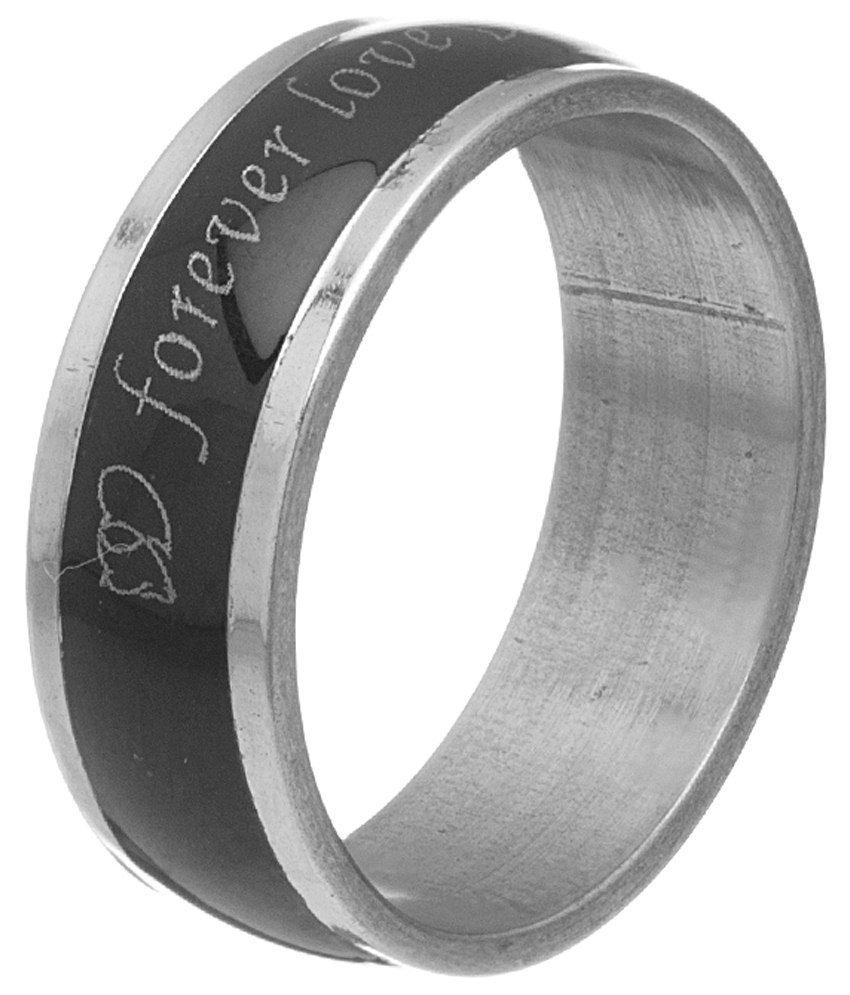 Voylla Alluring Silver & Black Enamel Ring For Men