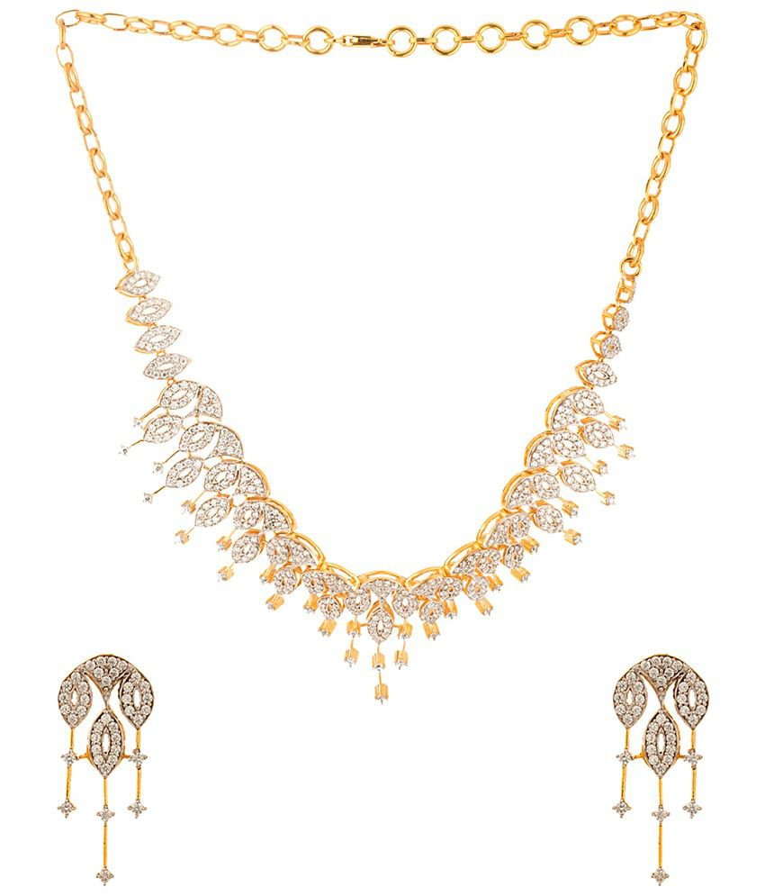 Voylla Gold Plated CZ Necklace Set